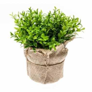 Hobby kunstplant tuinkers kruiden groen jute pot