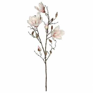 Hobby licht roze magnolia/beverboom kunsttak kunstplant