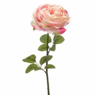 Hobby lichtroze roos kunstbloem