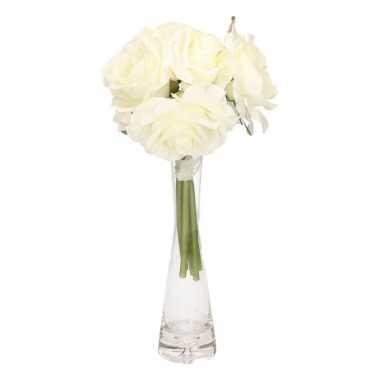 Hobby luxe boeket cremekleurige rozen glazen vaas