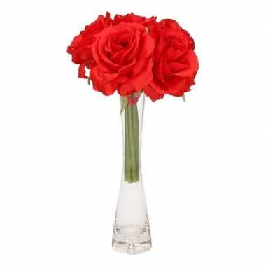 Hobby luxe boeket rode rozen glazen vaasje