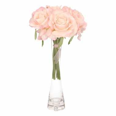Hobby luxe boeket roze rozen smalle vaas