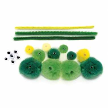 Hobby maak je eigen groene rups pompons pakket