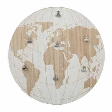 Hobby memobord wereldbol/aarde hout