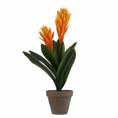 Hobby oranje bromelia kunstplant grijze pot