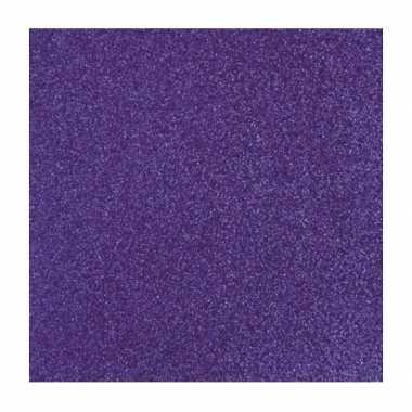 Hobby paars glitter papier vel