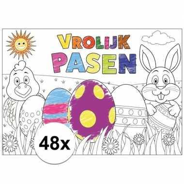 Hobby papieren paas kleurplaat placemats stuks 10105636