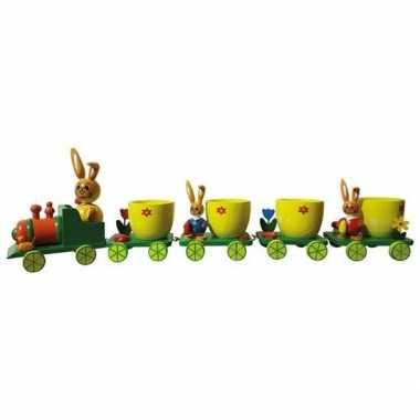Hobby pasen decoratie treintje eierdopjes