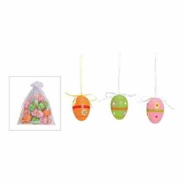 Hobby pasen hangdecoratie paaseieren gekleurd bloemen motief x