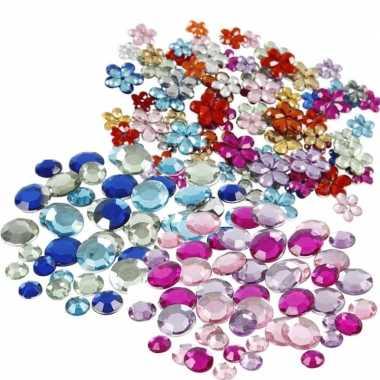 Hobby plak diamantjes/steentjes mix set stuks