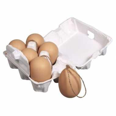 Hobby plastic bruine eieren hanger stuks