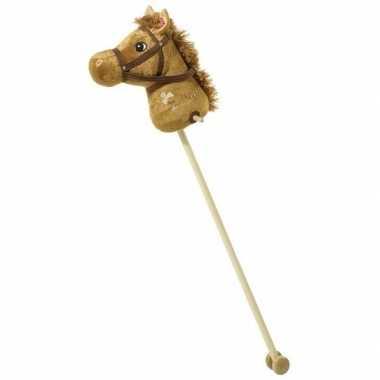 Hobby pluche stokpaard bruin geluid