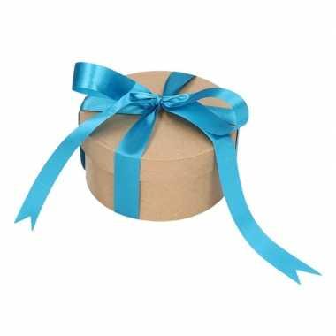 Hobby rond cadeaudoosje , blauwe strik