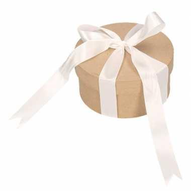 Hobby rond cadeaudoosje , witte strik