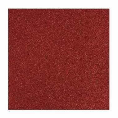 Hobby rood glitter papier vel