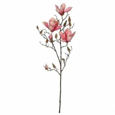 Hobby roze magnolia/beverboom kunsttak kunstplant