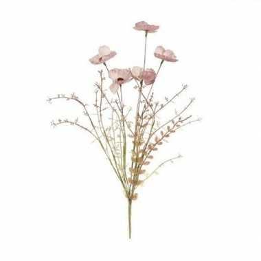Hobby roze papaver/klaproos gedroogde kunstbloemen
