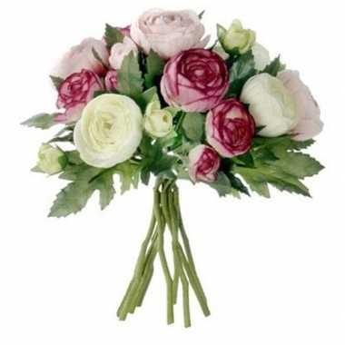 Hobby roze ranunculus/ranonkel kunstbloemen boeket