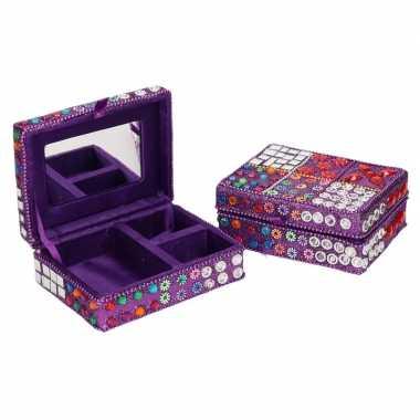 Hobby sieradenkistje/juwelendoosje paars glitters