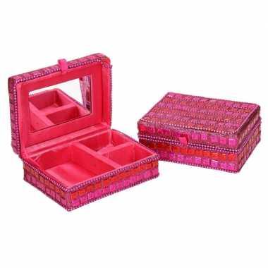 Hobby sieradenkistje/juwelendoosje roze glitters