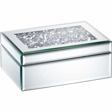 Hobby sieradenkistje spiegel/zilver diamanten