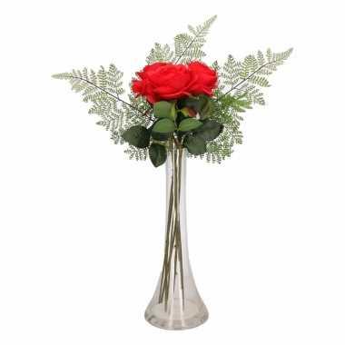 Hobby smalle vaas rode rozen boeketje