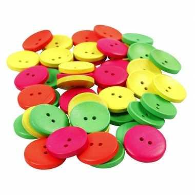 Hobby stuks gekleurde houten knopen mm
