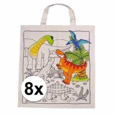 Hobby stuks inkleurbaar tasjes dinosaurus motief