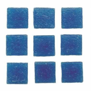Hobby stuks vierkante mozaieksteentjes blauw
