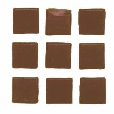 Hobby stuks vierkante mozaieksteentjes bruin