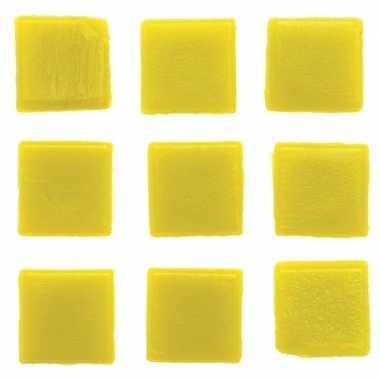 Hobby stuks vierkante mozaieksteentjes geel