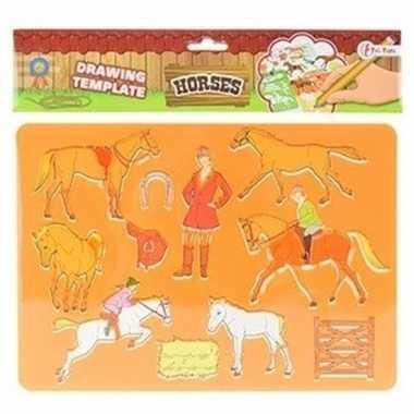 Hobby tekensjabloon paarden oranje