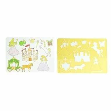 Hobby tekensjabloon prinsessen geel