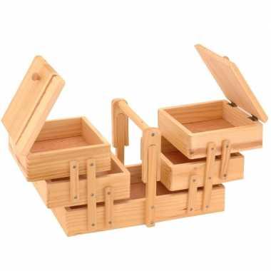 Hobby uitklapbare houten naaikist handgreep