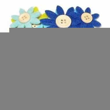 Hobby vilt grijs/groen/blauw vilten bloemen knoop , c