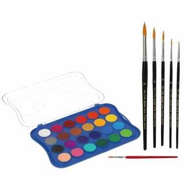 Hobby waterverf/aquarelverf kleuren stuks penselen