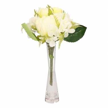 Hobby wit kunstbloemen boeket pioenroos/hortensia glazen vaas