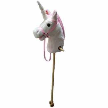 Hobby wit/roze eenhoorn stokpaardje geluid