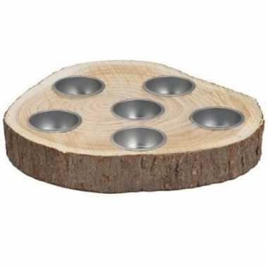 Hobby woondecoratie ronde houten boomschijf kaarsenhouders ,