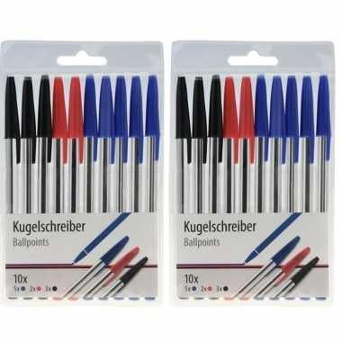 Hobby x balpennen zwart/blauw/rood