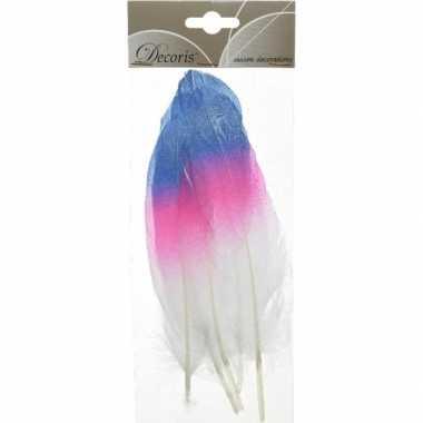 Hobby x blauw/roze/witte sierveren decoraties