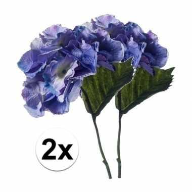 Hobby x blauwe hortensia kunstbloemen tak