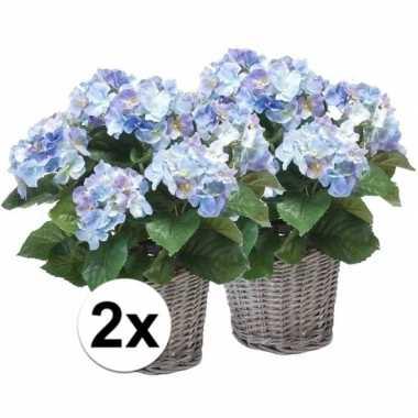 Hobby x blauwe hortensia kunstplant mand