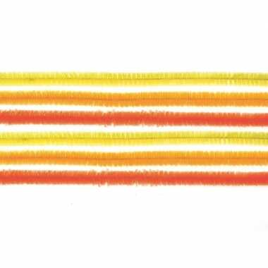 Hobby x chenilledraad mix geel/oranje