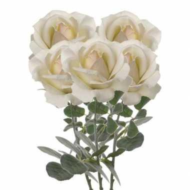 Hobby x creme witte rozen/roos kunstbloemen