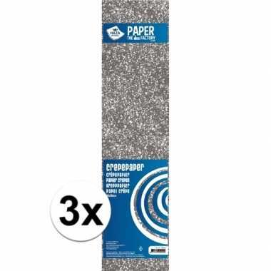 Hobby x crepe alu papier glitter zilver knutsel materiaal
