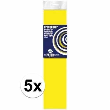 Hobby x crepe papier plat neon geel knutsel materiaal