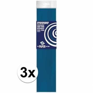 Hobby x crepe papier plat petrol blauw knutsel materiaal