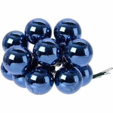 Hobby x donkerblauwe mini kerstballen kerststukje stekers glans