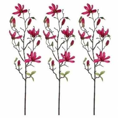 Hobby x fuchsia roze magnolia/beverboom kunsttak kunstplant
